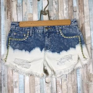 Free People 24 Embroidered Cut Off Jean Shorts